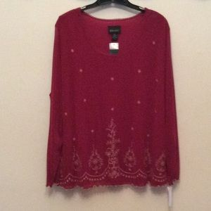 Lane Bryant 22/24...boho sheer embroidered top NWT